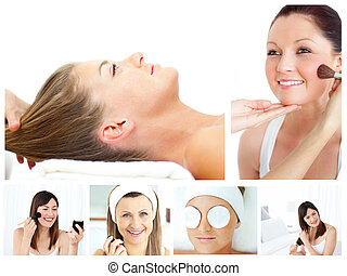 Collage of attractive women putting make-up on