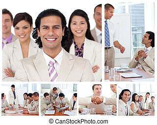 Collage of business people working together