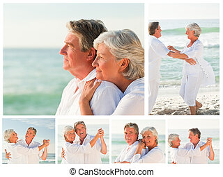 Collage of an elderly couple sharing good moments together...