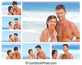 Collage of a lovely couple eating some ice creams on a beach