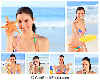 Collage of a pretty brunette woman enjoying the moment on a...