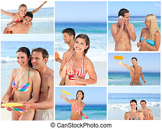 Collage of lovely couples enjoying a moment together on a beach