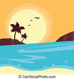 Summer and travel: silhouette of beach sunset - Retro -...