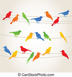 bird4 - Birds sit on wires. A vector illustration