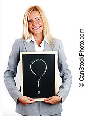 question sign - business woman take question sign in hands