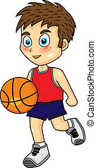 cute boy dribbling basketball - vector illustration of a...