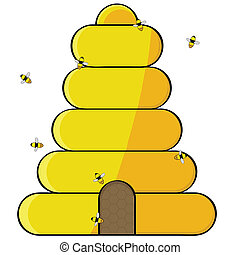 Beehive - Cartoon illustration showing bees flying towards...