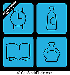 consumer goods icon set on black background