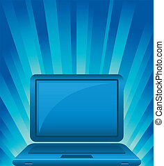 illustration of laptop on shining background