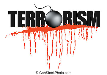 illustration of terrorism headline with blood stain