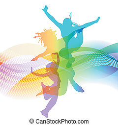 background for presentation with waves and dancing people