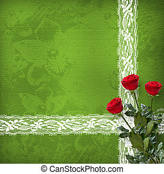 card for invitation or congratulation with bunch of roses