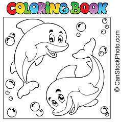Coloring book with dolphins 1 - vector illustration.
