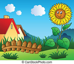 Meadow with cartoon sunflower - vector illustration.