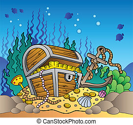 Sea bottom with old treasure chest - vector illustration