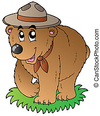 Cartoon happy scout bear - vector illustration