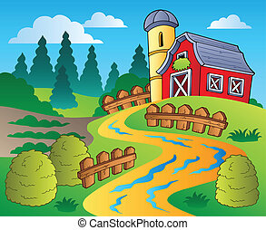Country scene with red barn 4 - vector illustration
