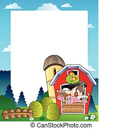 Country frame with red barn 3 - vector illustration