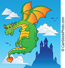 Flying fairy tale dragon near castle - vector illustration.