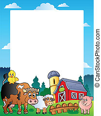 Country frame with red barn 1 - vector illustration