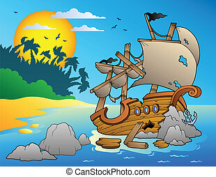 Seascape with shipwreck and rocks - vector illustration