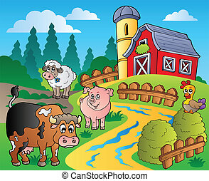 Country scene with red barn 1 - vector illustration