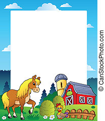 Country frame with red barn 4 - vector illustration