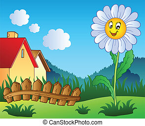 Meadow with daisy - vector illustration.
