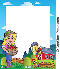 Country scene with red barn 6 - vector illustration