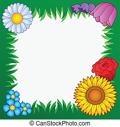 Grass frame with flowers 2