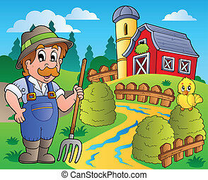 Country scene with red barn 3 - vector illustration