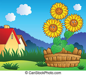 Meadow with three cute sunflowers - vector illustration.