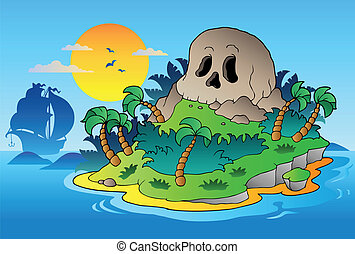 Pirate skull island with ship - vector illustration