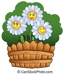 Three daisies with fence - vector illustration