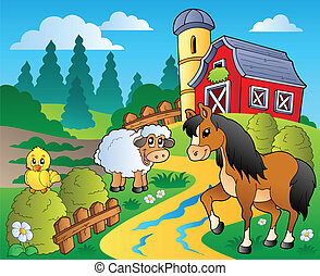 Country scene with red barn 2 - vector illustration