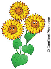 Three cute sunflowers - vector illustration