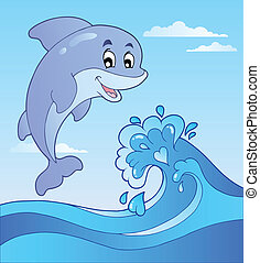 Jumping dolphin with cartoon wave 1 - vector illustration