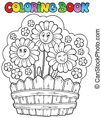 Coloring book with daisies