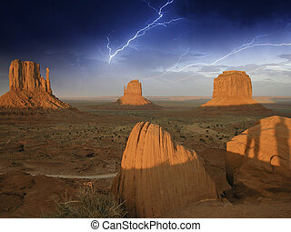 Storm approaching Monument Valley, USA