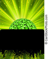 Disco ball poster with burst rays EPS8 To see similar visit...