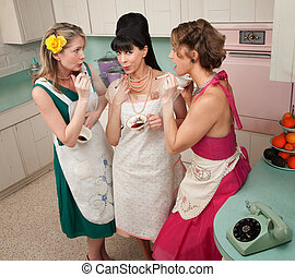 Women Smoking Cigarette - Three retro-styled women smoking...
