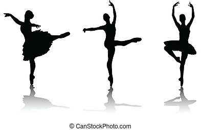 ballerinas silhouettes - vector illustration