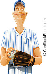 baseball player with bat and ball vector illustration...