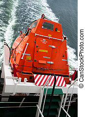 Freefall Lifeboat - A freefall lifeboat on a cargo ship...