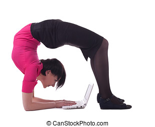 business woman in unreal pose type laptop keyboard - Young...