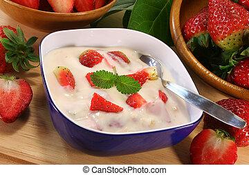 fresa, yogur