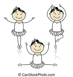 Cute little ballet dancers for your design