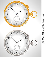 Illustration of gold and silver pocket watches -...