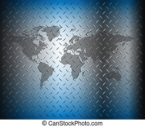 Business background, blue diamond plate with world map,...