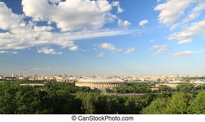 Panorama of Moscow city timelapse - View to Luzhniki stadium...